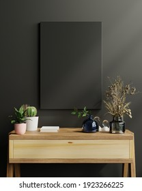 Mockup frame on cabinet in living room interior on empty dark wall background,3D rendering