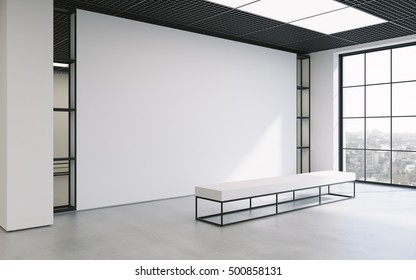 Mockup of light empty exhibition gallery with bench. Concrete floor. Loft design 3d render