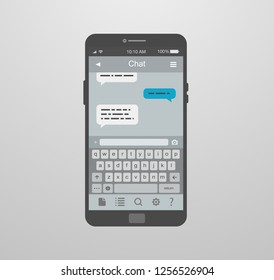mockup of a mobile app for messages and chat