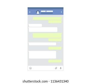 Mockup of mobile messenger. Chat app template. Modern design. illustration.