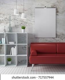 ?alendar  mockup on wall, white room, modern eco design 3d rendering