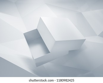 Mock-up of open box floating in the air, over low poly background. 3D render