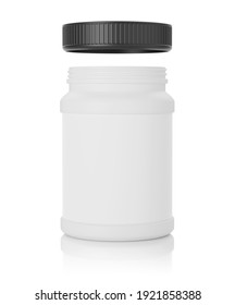 mockup of pharmacy bottle with blank label for vitamins isolated on white background. 3d illustration