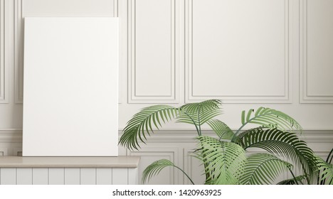 Mock-up of picture canvas frame with small plant in vase on white classic wall. Perspective of modern Interior design. 3d rendering.