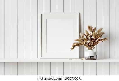Mockup picture frame on white shelf. White planks wall background. 3D render. 3D illustration.