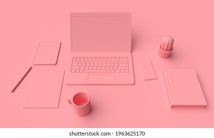 Mockup pink workplace woman with laptop and tablet. 3d rendering