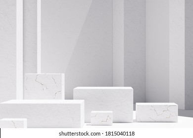 Mockup podium for branding and packaging presentation. Cosmetic and fashion. Minimal geometric shapes with marble stone texture. Natural beauty pedestal in sunlight. 3d render. 3d illustration.