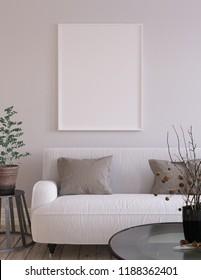 Mock-up poster background in living room interior, Scandinavian style, 3d render