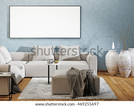 Minimal modern interior couch leere wand wandposter u poster holl