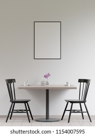 Mockup poster in the cafeteria interior, chairs and a table with dishes near the wall, 3D render