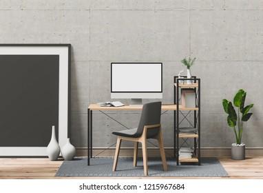 Mockup poster with desktop computer, 3D render.