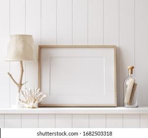 Mockup poster frame close up in coastal style home interior, 3d render