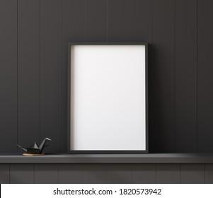 Mockup poster frame close up on shelf with origami, 3d render