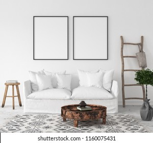 Mock-up poster frame in living room background, Scandi-Boho style, 3d render