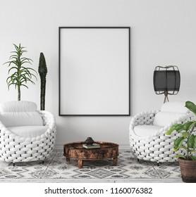Mock-up poster frame in living room background, Scandi-Boho style, 3d render