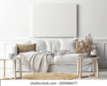 Mockup poster frame on the wall, a white sofa in Scandinavian Livingroom, 3d rendering, 3d illustration