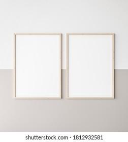 Mockup poster frame, two vertical wooden frames on beige and white wall, 3d render, 3d illustration