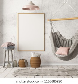 mockup poster with a hanging chair in hipster style, in the Scandinavian interior. 3D rendering