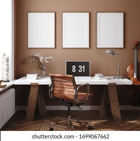 Mockup poster in home interior background, home office, 3d render