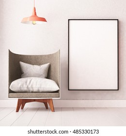 Mockup poster in the interior with an armchair in loft style. 3d