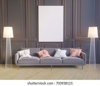 Mockup poster in the interior in classic style 3D rendering, 3D illustration