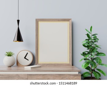 Mockup poster in the interior on empty wall background. 3D rendering