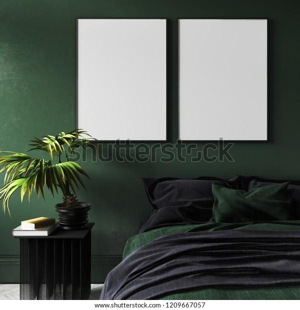 Mockup Poster Modern Dark Green Bedroom Stock Illustration 1209667057