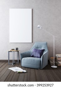 Mockup poster on the wall in the interior with a chair in Contemporary style. 3D render.