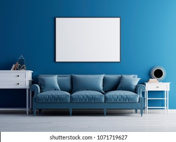 Mockup poster on the wall, luxury living room, blue classic sofa and wall. 3d render.