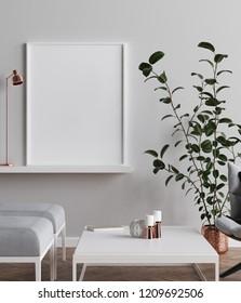 Mock-up poster in Scandinavian style living room background, 3d render