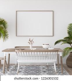 Mock-up poster in tropical living room background,Scandi-boho style, 3d render