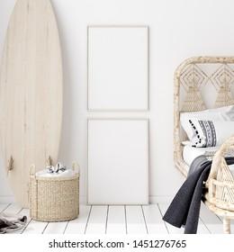 Mock-up poster,wall in bedroom, Scandinavian style, 3d render