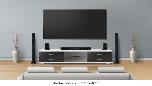 mockup of room with home theater system