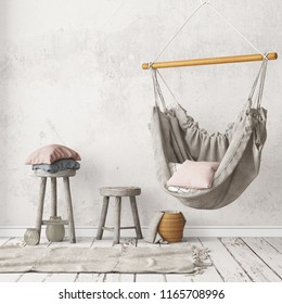 Mockup Scandinavian interior with a hanging chair. 3D rendering