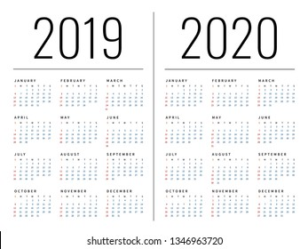 Mockup Simple calendar Layout for 2019 and 2020 years.