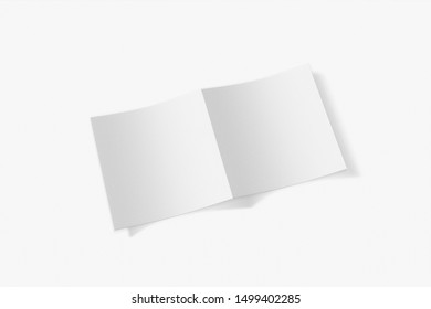 Mockup square booklet, brochure, invitation isolated on a white background with soft cover and realistic shadow. 3D rendering.