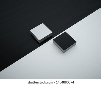 Mockup square business cards. White face and black back. 3D Illustration.