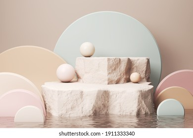 Mockup stone podium Display for Cosmetic product presentation, Minimal pastel color Background 3d rendering.