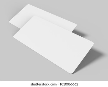 Mockup template blank white empty rounded corners gift voucher card on the grey background. For graphic design or presentation, 3D rendering illustration.