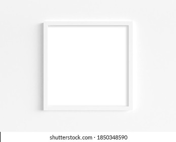 Mockup of thin square white frame on a light wall. 3D illustration.