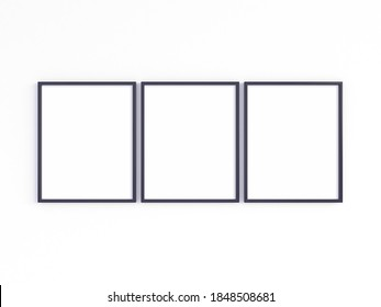 Mockup of three 8x10 black photo frames with vertical orientation on a light wall. 3D illustration.