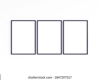 Mockup of three A4 black photo frames with vertical orientation on a light wall. 3D illustration.