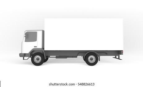 Mockup of truck on white background. Mockup of lorry on white background.