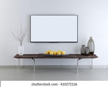 mockup TV screen on a white brick wall. A low table against a wall with a decor in Contemporary style. 3D render.