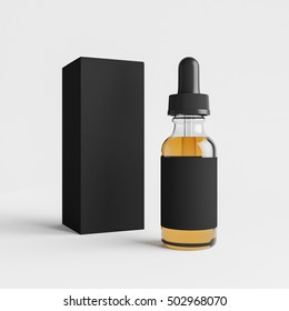 Mockup of Vape bottle with liquid and package box on white background. Template. 3d rendering