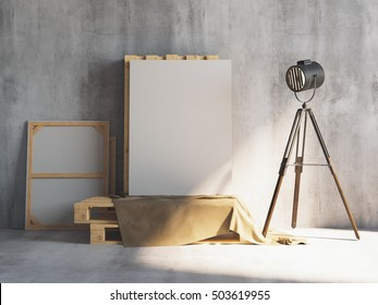 Mockup of vertical blank canvas on the wooden palletes with loft projectors. Art studio. 3d rendering