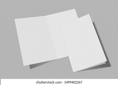Mockup vertical booklet, brochure, invitation isolated on a grey background with hard cover and realistic shadow. 3D rendering.