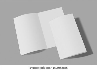 Mockup vertical booklet, brochure, invitation isolated on a grey background with soft cover and realistic shadow. 3D rendering.