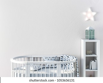 Mockup wall in child room with oval crib 3d rendering