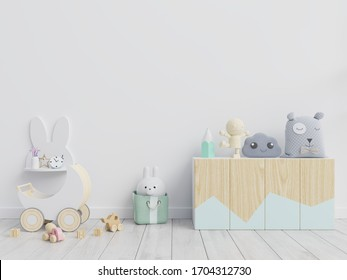Mockup wall in the children's room on white wall  background,3d rendering